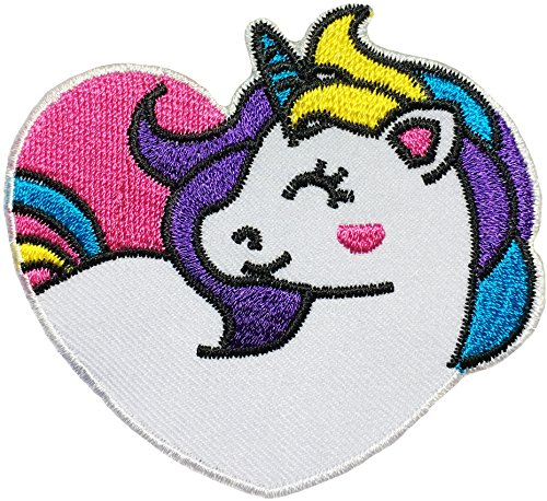 Papapatch Cute Unicorn Heart Shape Head Horse Cartoon DIY Sewing on Iron on Embroidered Applique Patch (IRON-UNICORN-HEART)