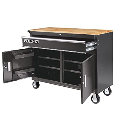 Mobile Storage Cabinet with Wood Top Tool Cart Workbench  sc 1 st  Amazon.com & Amazon.com: 46 in. Mobile Storage Cabinet with Wood Top Tool Cart ...