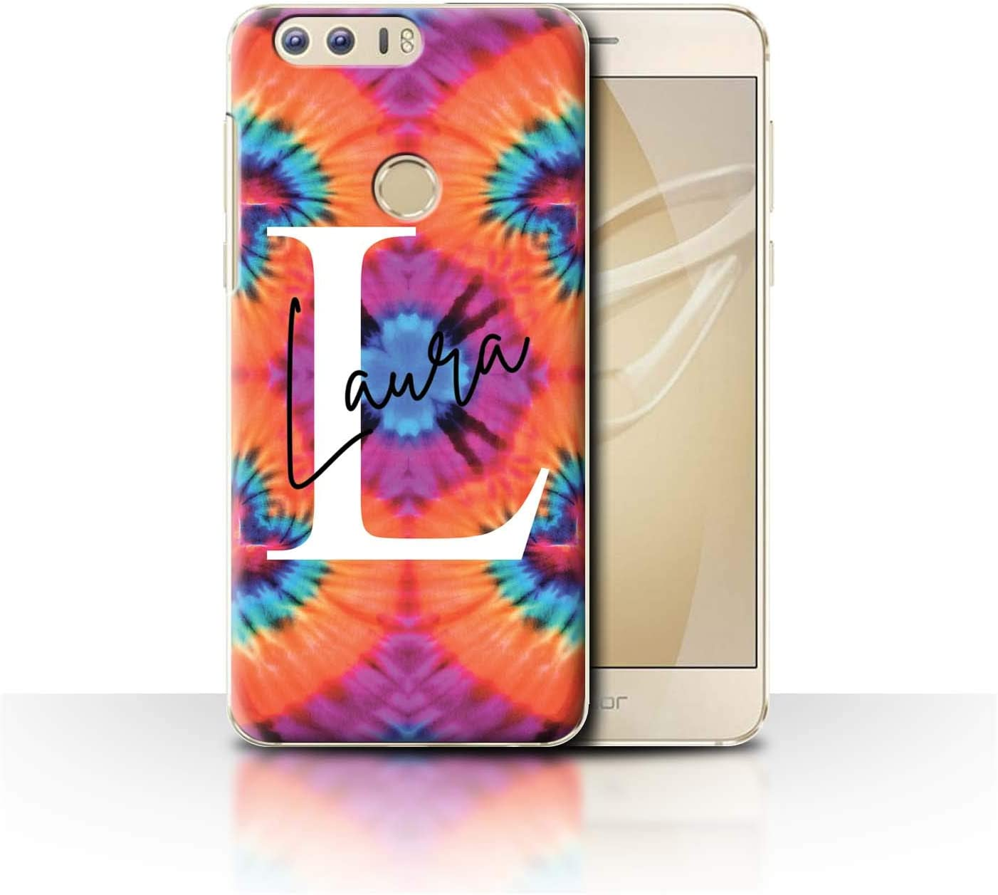 Amazon Com Personalized Custom Fabric Tie Dye Patterns Case For Huawei Honor 8 Butterfly Heart Symmetry Design Initial Name Text Diy Cover