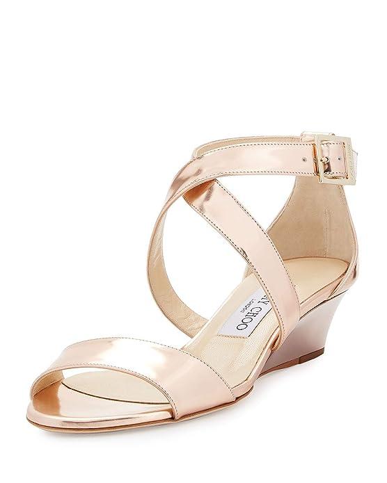 53b091fa74928 Amazon.com   JIMMY CHOO Chiara Mirrored Crisscross Wedge Sandal ...
