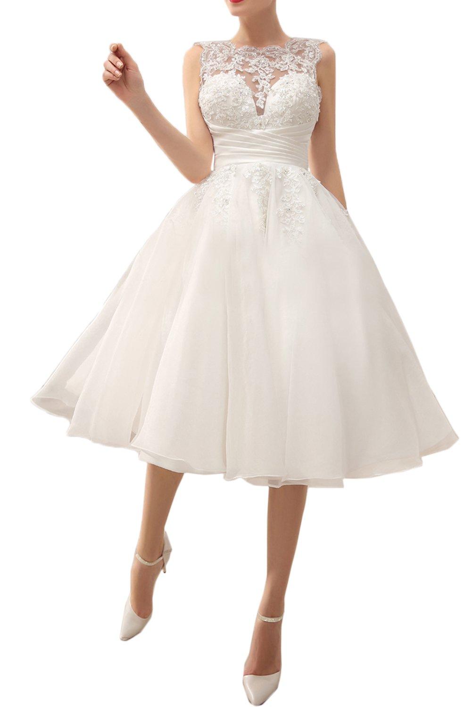 MILANO BRIDE Chic Wedding Party Dress Illusion-Neck Tea-Length Lace Prom Dress-2-Light Ivory
