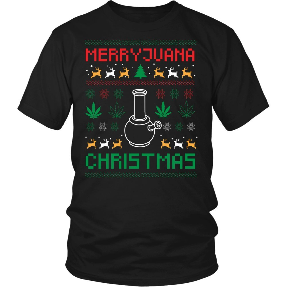 JoyHip.com Merry Juana Cannabis Weed Pot Grass Herb Boom Funny Ugly Christmas Holiday Sweater Unisex T-Shirt for Men & Women