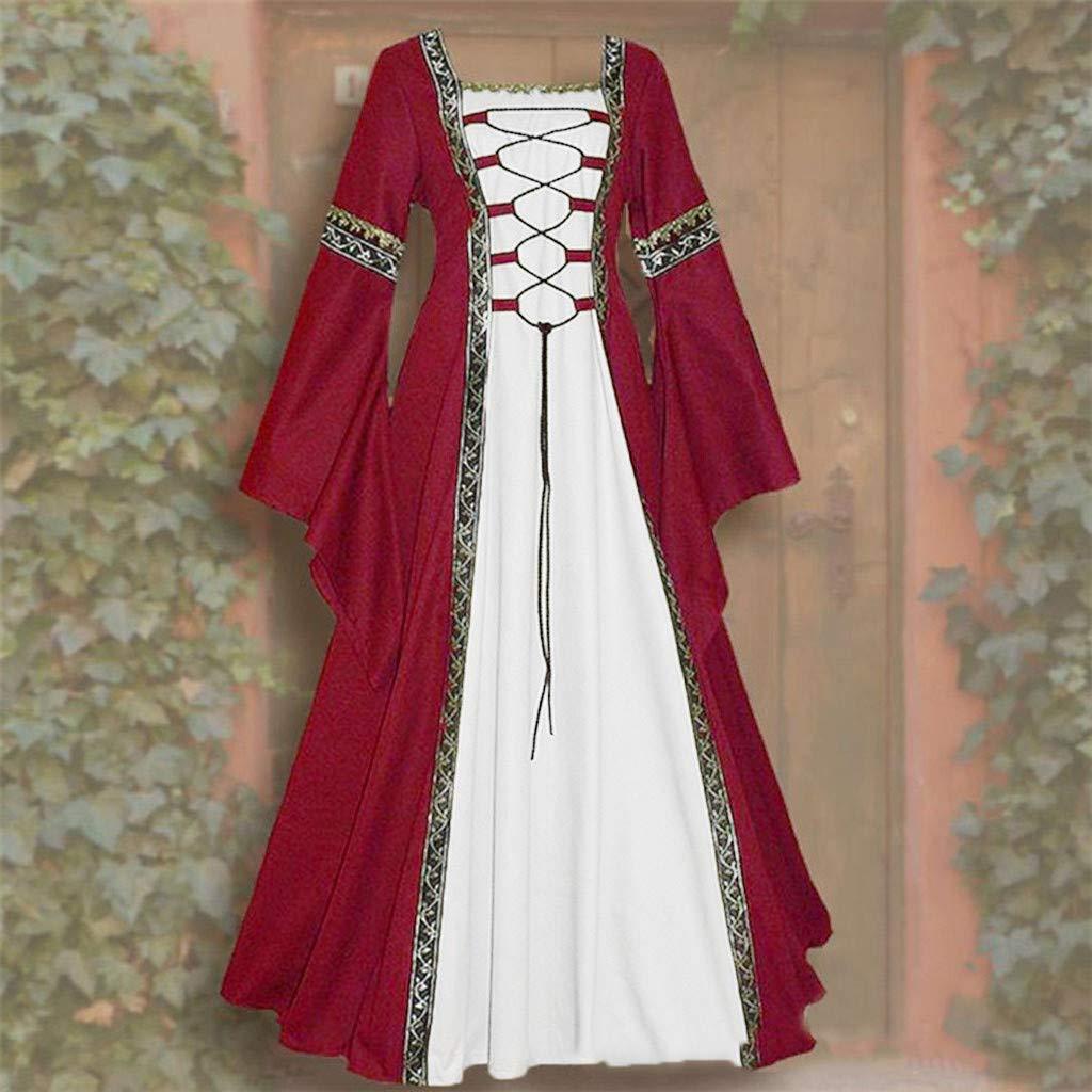 Oksea Robe Celtique Gothique Renaissance Longue au Sol Celtique medievale Bandage Robe Jupe Partie Tenue de soir/ée