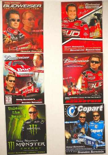NHRA - 2010 / 2009 - Kenny Bernstein / Brandon Bernstein - Budweiser Top Fuel Dragster - Copart / Monster Funny Car / Lucas Oil / Mac Tools / BUD - Out of Print - 6 Promo Cards - Rare - Collectible - Nhra Mac Tools