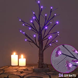 Twinkle Star 24 LED Lighted Halloween Tree, Battery Operated Birch Tree with 24 DIY Bat, Indoor Home Table Desktop Best Halloween Decorations Gift Package