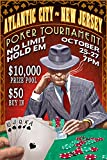 Atlantic City, New Jersey - Poker Tournament Vintage Sign (36x54 Giclee Gallery Print, Wall Decor Travel Poster)