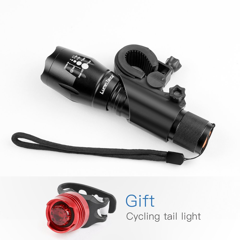 Back Light Included Quick-Release Lumin Tekco Bike Light Set with CREE XML-T6 10W Bead Front Light 1,000 lumen Super Bright Waterproof LED Headlight and Taillight