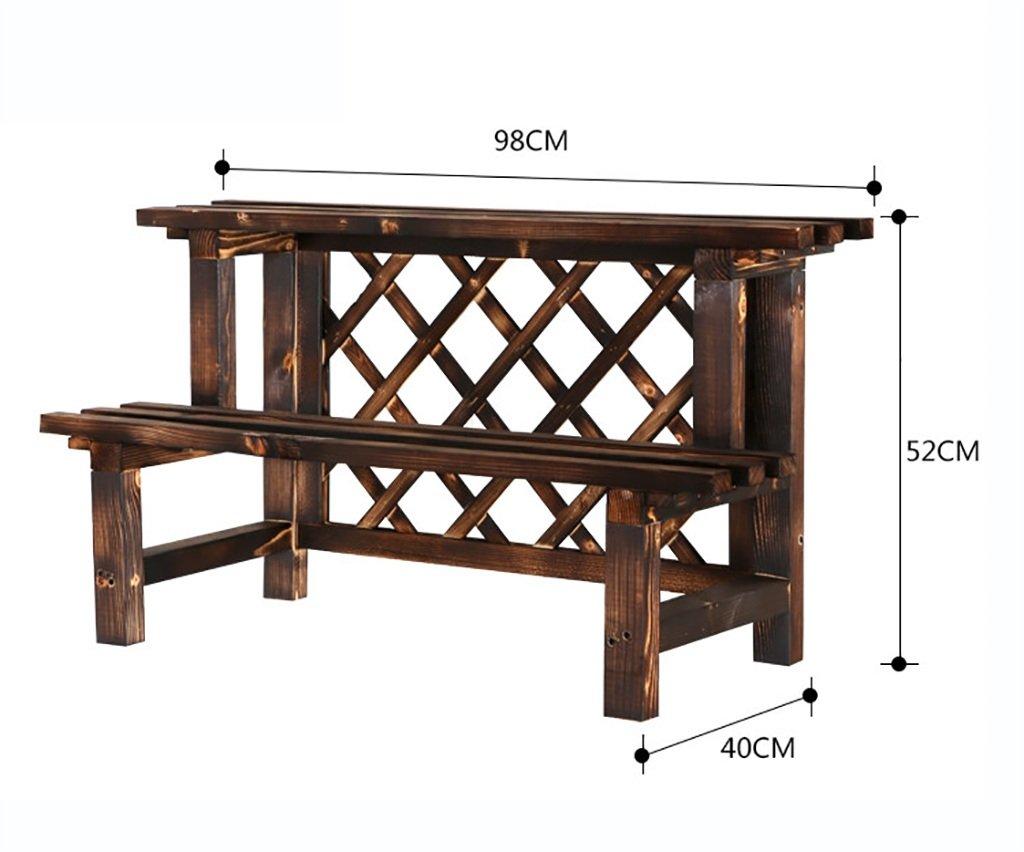 HJ flower rack Yxsd Mensola Anti-corrosione Fiore Scala Esterna, Balcone in Legno massello Multi-Strato mensola in Legno Vaso da Fiori cremagliera (Dimensioni   98  40  52cm)