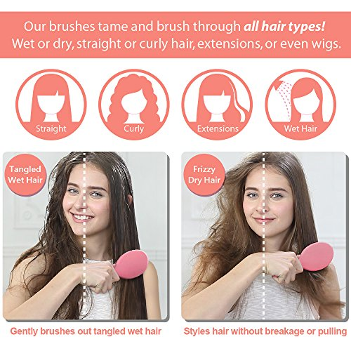 WATCH THE VIDEO! SAVE!!! MagicSpell Brush Pro brush-set for All Hair Types! (Detangles Thin, Fine, Thick, Wet, Curly, and Natural hair) - Reduced Static! - Hair Dryer Safe! (Salmon Pink/Blue) by MagicSpell Brush (Image #7)