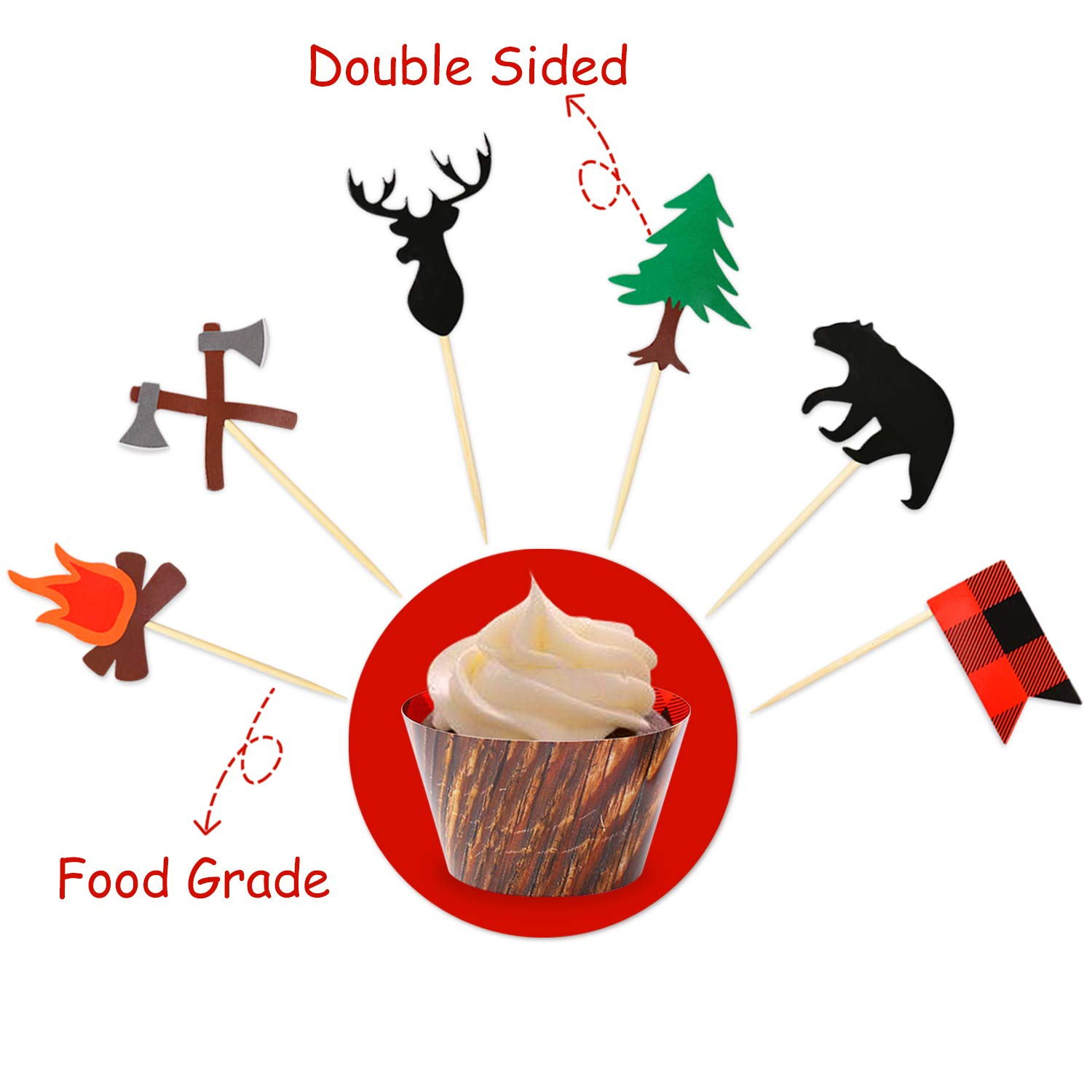 Camping Cupcake Toppers Wood Grain Buffalo Plaid Wrappers Woodland Theme Party Decoration Supplies 24 Pack