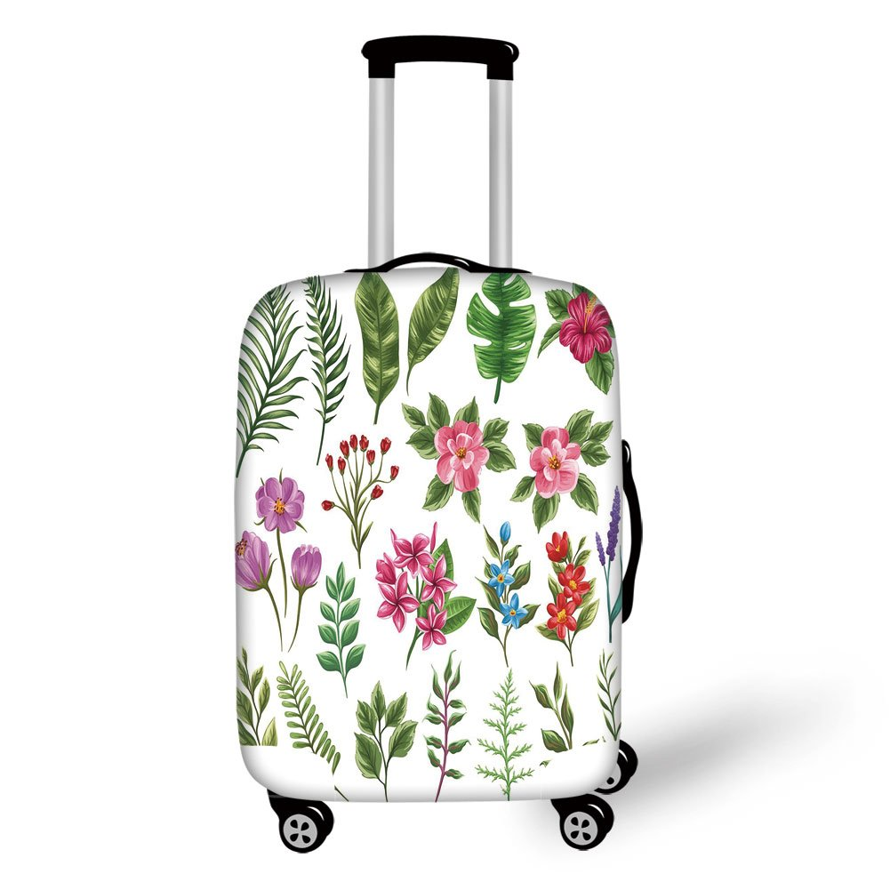 Travel Luggage Cover Suitcase Protector,Plant,Set of Exotic Flowers and Ferns Botanical Elements Flora Variety of Leaves Decorative,Fern Green Multicolor,for Travel