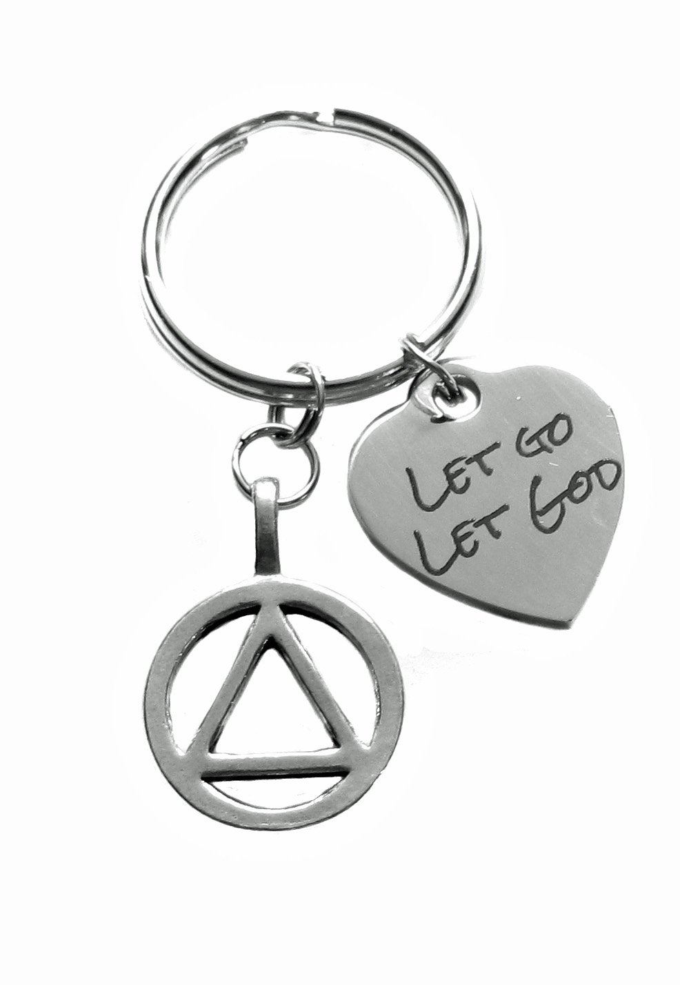 Alcoholics Anonymous AA Unity Symbol and Let Go Let God Charms 12 Step Anniversary Recovery Gift