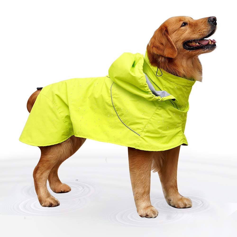 EVELOVE Large Dog Rain Jacket Poncho Waterproof Clothes with Hood Extreme Warmer Dog Winter Coat for Small Medium Large Pet (XXL, Green#2) by EVELOVE