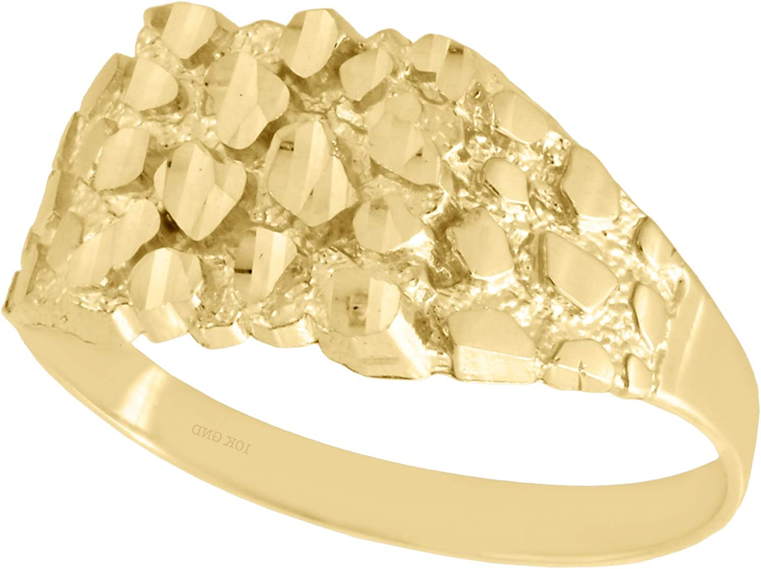 10mm Width Men/'s Real 10K Yellow Gold Small Nugget Style Square Pinky Ring