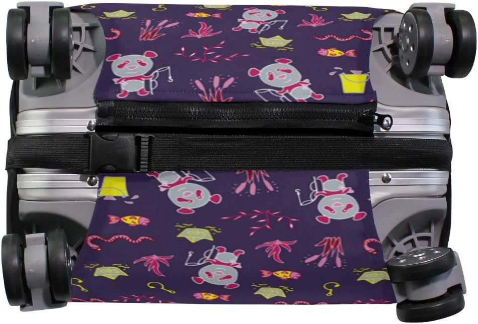Fashion Travel Pandas Fishes Purple Luggage Suitcase Protector Washable Baggage Covers