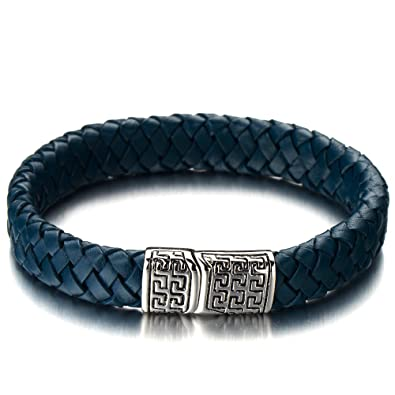 Lederarmband für damen  Elegant Geflochtene Lederarmband Herrenarmband Damen-Armband Blaue ...