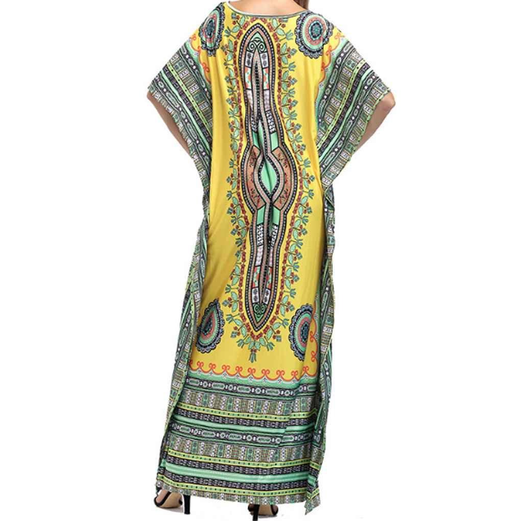 Masterein Femmes Vintage Plus La Taille Maxi Robe Longue Floral Imprimer Bat Manches Floral Lâche Maxi Long Dressjaune