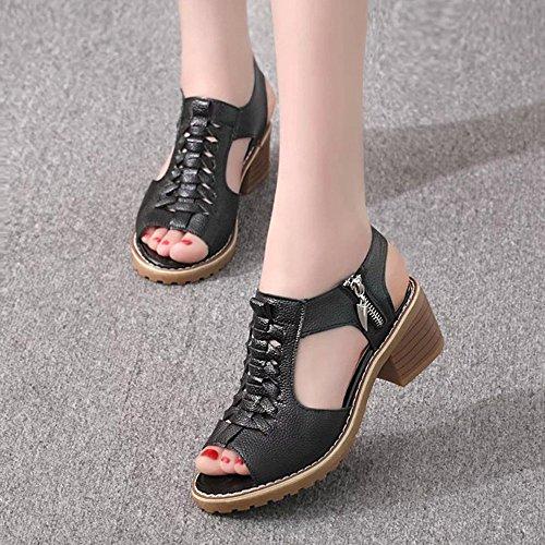Colorful Damen Sandalen, Frauen Mode Peep Toe Schuhe Solide Wild Square Heel Slipper Sandalen Schwarz