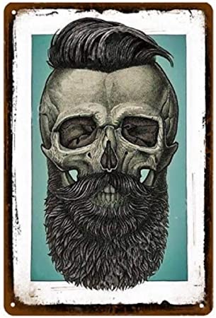 KUSTOM FACTORY Plaque Acier Skull Barber Shop