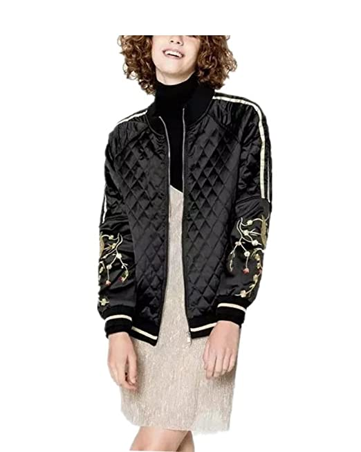 0c2f967e2c Eorish Women's Fashion Embroidered Quilted Short Coat Bomber Jacket ...