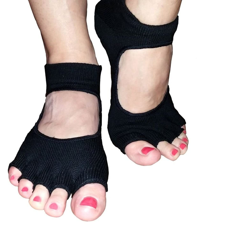 Ponce Sport Pretty Lady's Non Slip Toeless Grip Yoga Socks
