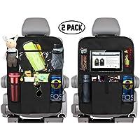 PUBAMALL Organizador para asiento trasero de automóvil y protector con señal de coche para bebé y bebés, asientos de tapicería contra daños (Negro)