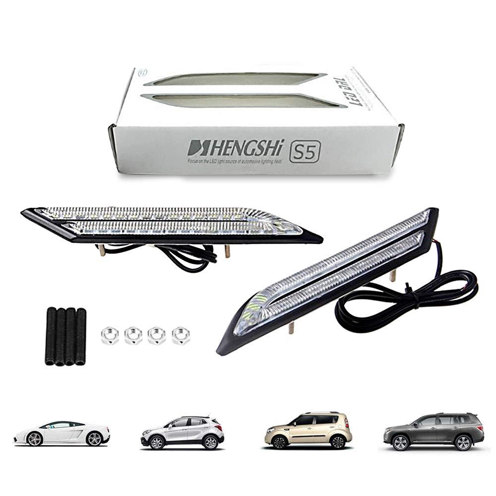 HopeU5/® Ein Paar Wasserdichte Auto Nebelscheinwerfer LED Tagfahrlicht Auto Bremse Und Lenkung Lichtquelle Styling Reines Wei/ß