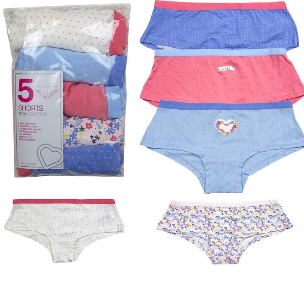 Exchainstore Girls Knickers Assorted Print 5 Pack Multi Print /& Plain Cotton Hipster Briefs 5-13years