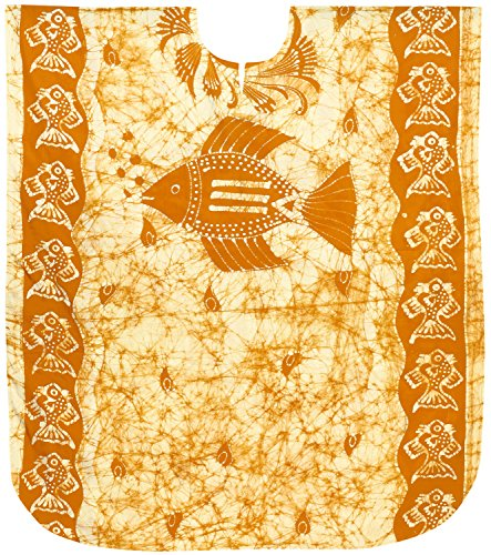 b1350022bb LA LEELA Beach Dress Batik Caftan Night wear for Women Orange G770 OSFM  14-18W