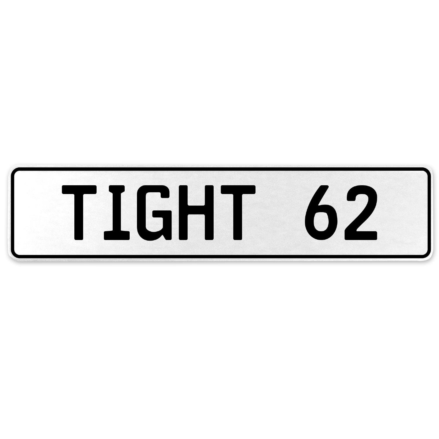 Vintage Parts 554758 Tight 62 White Stamped Aluminum European License Plate