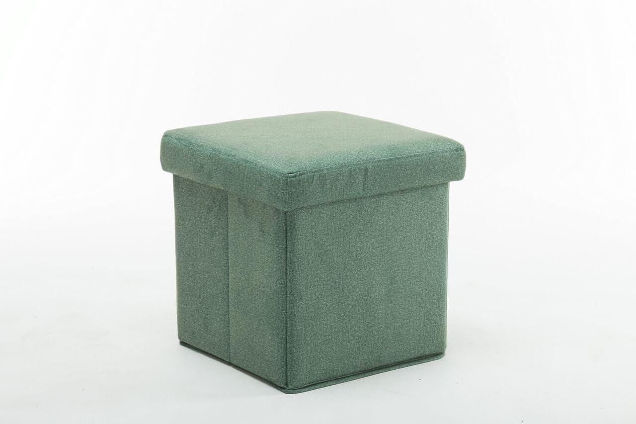 Boraam Upholstered Folding Storage Ottoman, Green