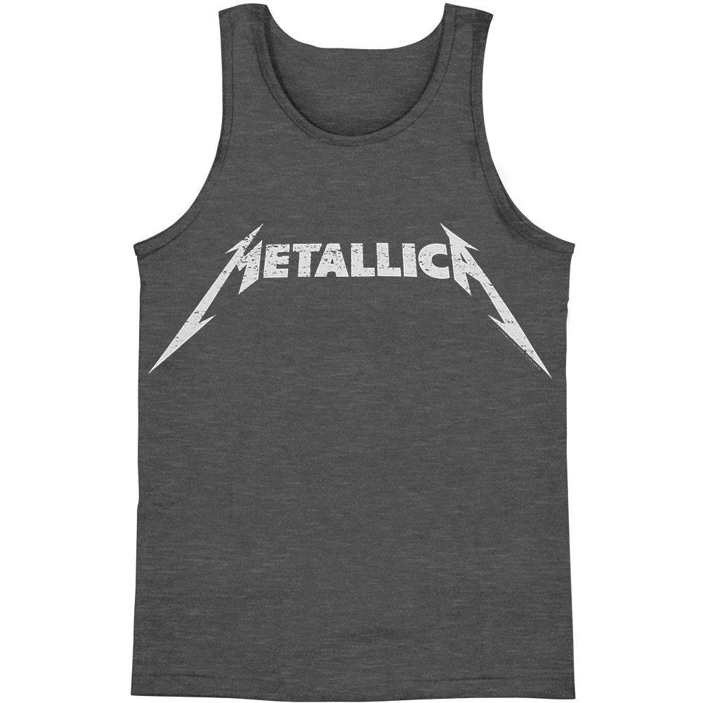 Metallica S Classic Logo Distressed S Tank Grey Shirts