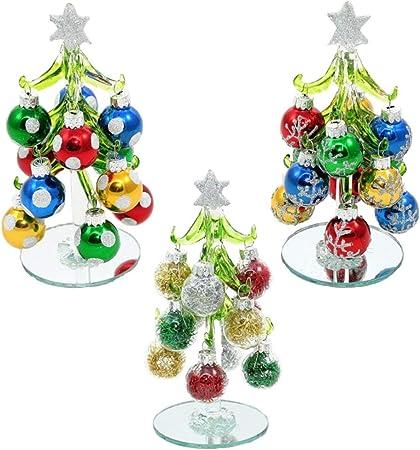 MMS Gifts Lot de 3 sapins de Noël en Verre avec étoiles à