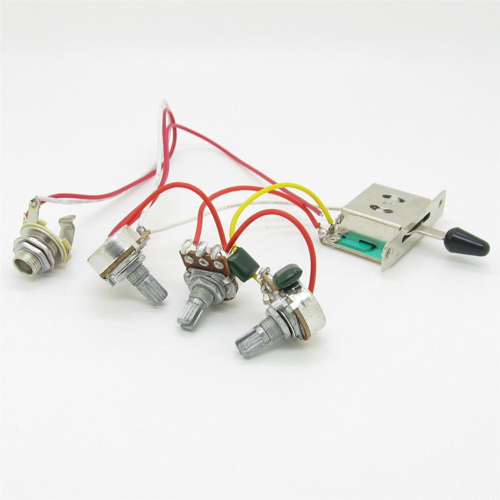 61F0dJGEpeL._SL1024_ amazon com guitar wiring harness prewired 3x 500k pots 1 volume 2 Stratocaster Wiring Kit at n-0.co