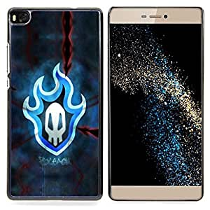 Blue Flaming Skull Badge Caja protectora de pl??stico duro Dise?¡Àado King Case For HUAWEI P8