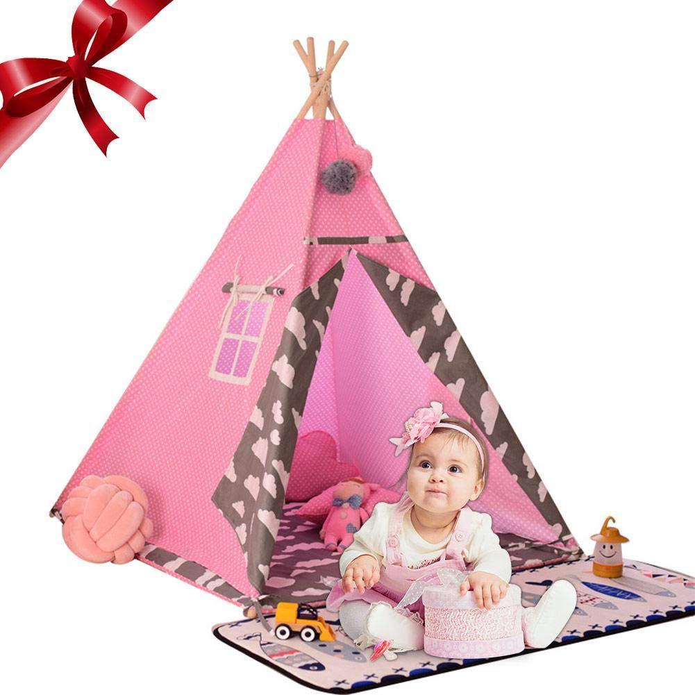Mignon84Cook Teepee para niños, Tienda de Juegos para niños/casa de Juegos/Wigwam para Interiores, lienzos
