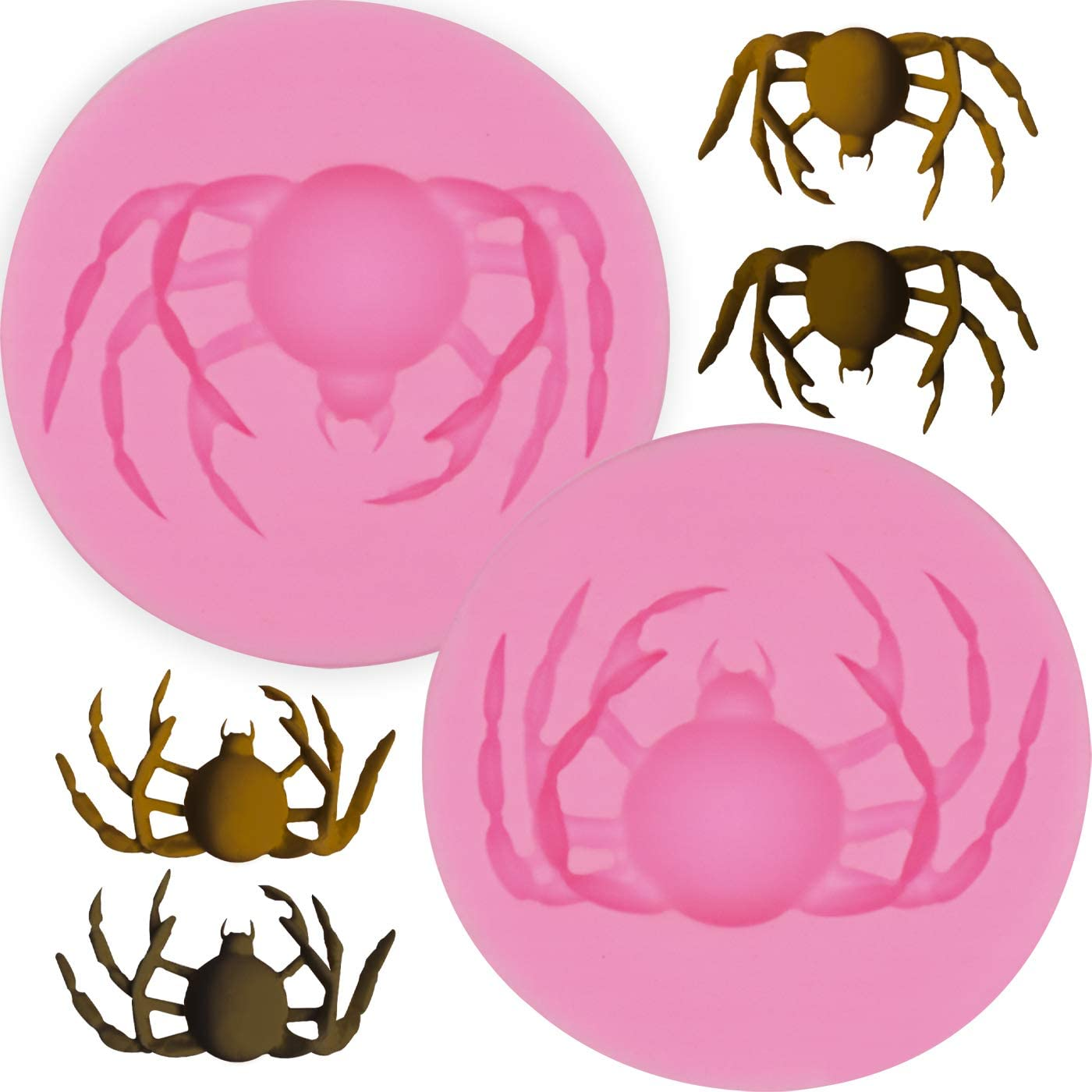 Hengke 2Pcs Spider Shape Silicone Molds For Halloween Party,Scary Themed Party,Pudding,Pan Muffin,Impression Mats Baroque Fondant,Chocolate,Cookie Pastry Pies,Cake Cup,Cake Decoration,Handmade Soap