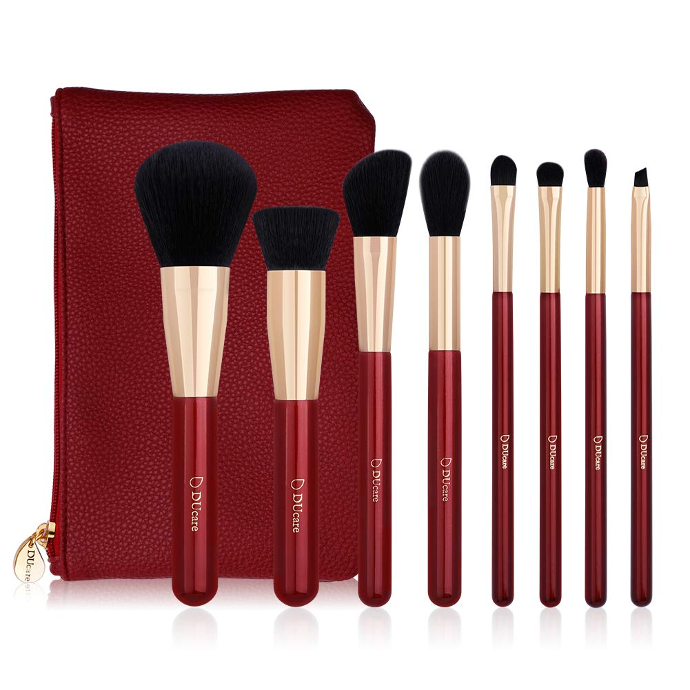 Makeup Brushes, Docolor 8 Pieces Makeup Brush Set Face Eyeshadow Blush Concealer Foundation Cosmetic Brushes for Powder Liquid Cream, Premium Makeup Brush Kitwith Cosmetic Bag(Agate Red) Fencos