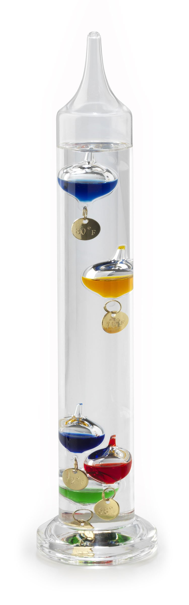 Lily's Home Galileo Thermometer, A Timeless Design that Measures Temperatures from 64ºF to 80ºF, 5 Multi-Colored Spheres (11 Inches)