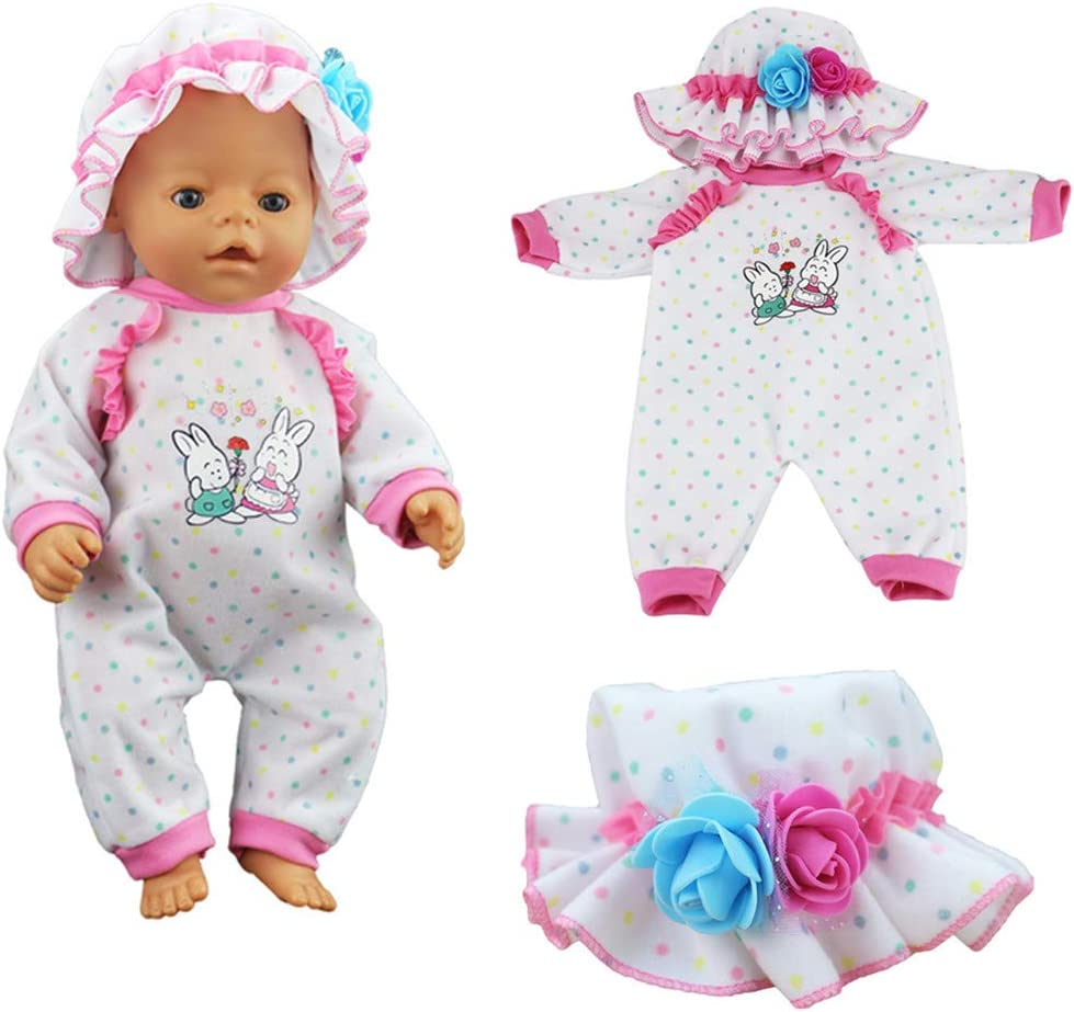 XADP 10 Sets Girl Baby Doll Clothes and Accessories with Hat,Hair Clips and Hair Bands for 18 Inch American Girl Doll,Our Generation Doll and Other Similar Dolls