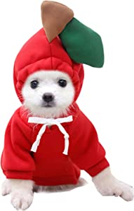 Pet Clothes, Dogs Hooded Sweatshirt Fruit Warm Coat Sweater Cold Weather Costume for Puppy Small Medium Large Dog