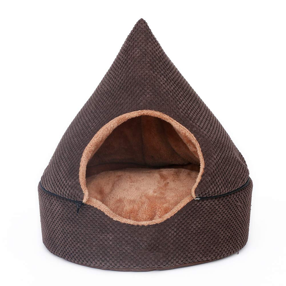 LOVEWO Sala De Campaña De Mongolia, Modelo único 2 En 1 Desmontable, Cama De Gato, Terciopelo ártico Material, Completamente Limpiada Cama para Mascotas,Brown,L