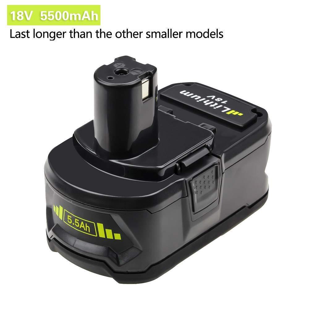 2X Reoben 18V 5,5Ah Lithium-Ion Remplacement de Batterie Pour Ryobi ONE P108 P107 P104 P105 P102 P103 Outils Sans Fil