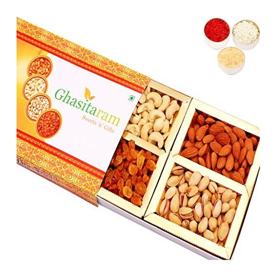 Ghasitaram Gifts Bhaidooj Orange Assorted Dry Fruits Box, 200 gms with Chandan tilak