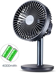Battery Operated or USB Powered Desk Fan with 4000 mAh Battery, Portable Table Fan with 4 Speeds, Quiet Operation, Adjustable Tilt, Enhanced Airflow, for Bed, RV, Camping,Office-Dark Blue, 6 Inch