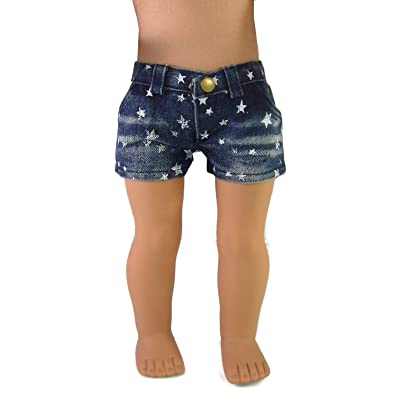 "Doll Clothes Sew Beautiful Trendy Denim Star Shorts for 18"" American Girl Dolls by DCSB: Toys & Games"