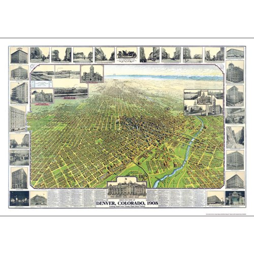 1908 Print (Denver, CO 1908 Historical Print Mounted Wall Map)