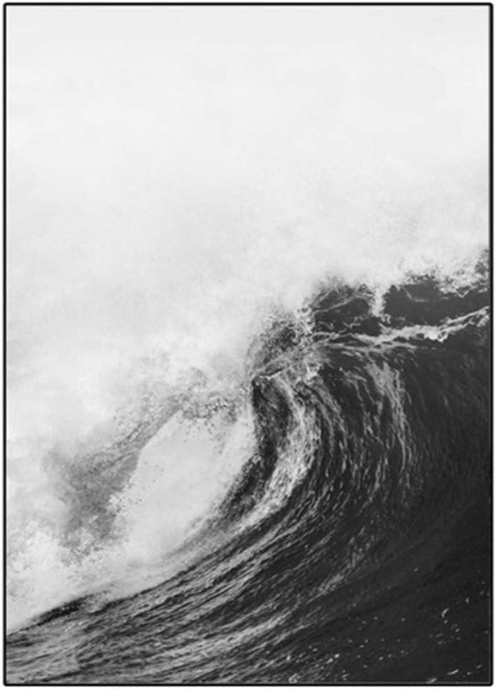 Cuadros de salon Pintura y Arte Negro CalligraphyNordic pared blanca de la ola oce/ánica lona de la playa Pintura Poster Palmera y grabados en colores pastel de fotograf/ías for Living Room Decor Abstra