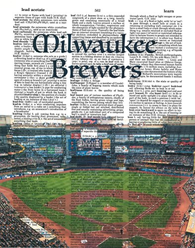 lwaukee Brewers photo Dictionary Art Print Miller Park photo Baseball Art Gift For Him Vintage Dictionary Paper ()