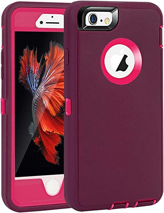 """iPhone 6 Plus/6S Plus Case, Maxcury Heavy Duty Shockproof Series Case for iPhone 6 Plus /6S Plus (5.5"""") with Built-in Screen Protector Compatible with All US Carriers (Wine/Fushcia)"""